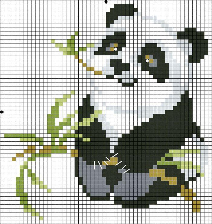 Вышивка крестиком панды