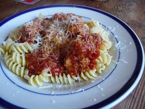 homemade red sauce & meatballs #devil_and_egg #pasta