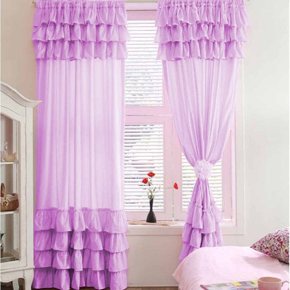 Lavender blackout waterfall window top amp bottom ruffle curtains 100