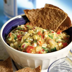 This roasted eggplant and feta dip gets a kick from a fresh chile ...