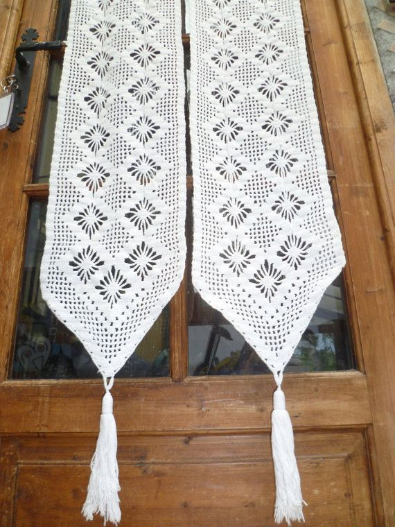 ... Vintage French Filet Lace Door Curtain Panels. Handmade Crochet. (201