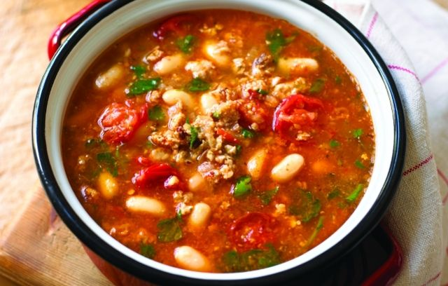 Sausage and Bean Soup. Use turkey sausage/ Add 2-3 cups of spinach.