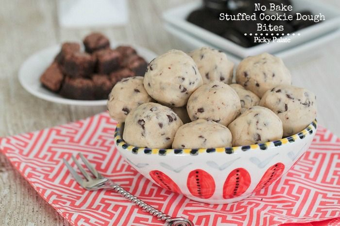 No bake stuffed cookie dough bites. The middle can have brownies, mini ...