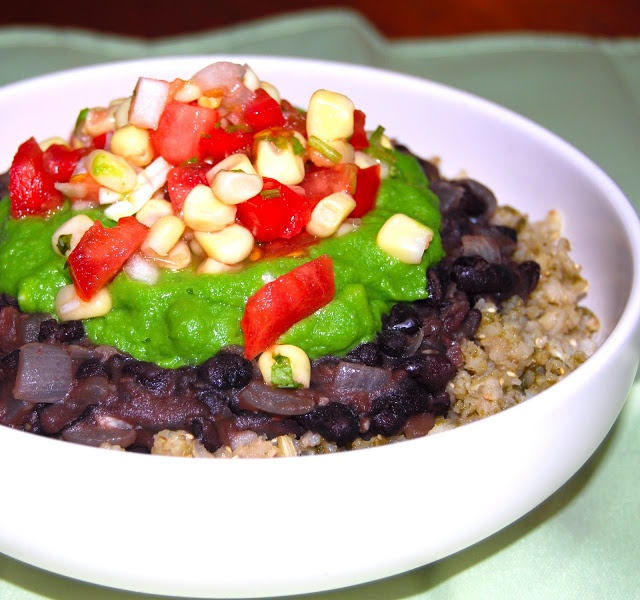 "Burrito Bowl: Cilantro Brown Rice, ""Refried"" Black Beans, No-Avocad..."