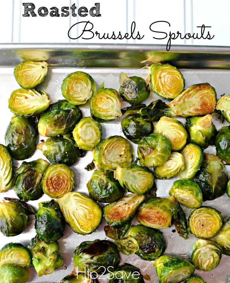 Roasted Brussels Sprouts Recipe – Hip2Save coat with olive oil, sea ...