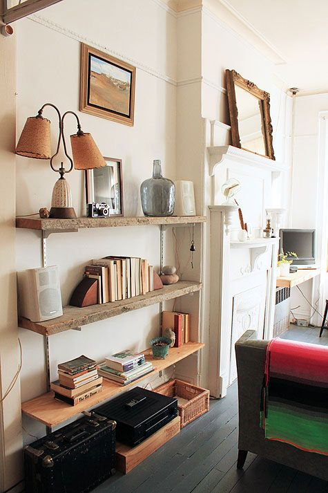 anne-claire rohe's brooklyn apartment. raw wooden shelves.
