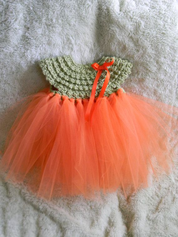 Crochet Baby Tutu Dress Pattern : Handmade Crocheted Pumpkin Tutu dress- Newborn to 5T