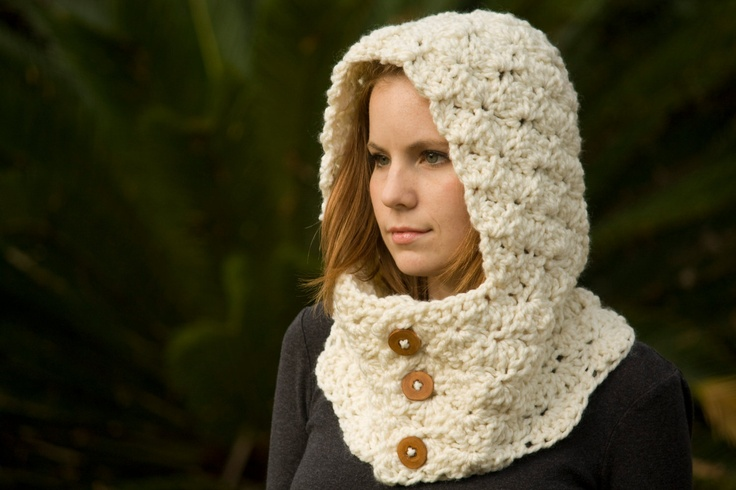Hooded neck warmer crochet cowl with hood and wood buttons cream ec