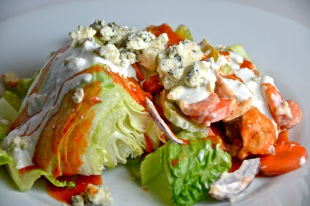Buffalo Chicken Salad. Grilled chicken slathered in buttery hot sauce ...