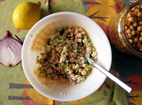 smashed chickpea lemon salad | Salad | Pinterest