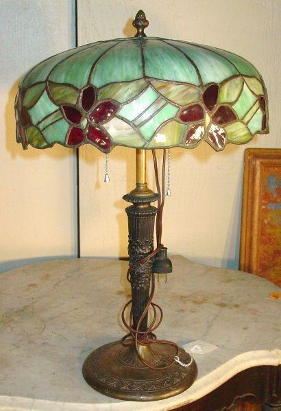 antique leaded glass lamp lamps chandeliers pinterest. Black Bedroom Furniture Sets. Home Design Ideas