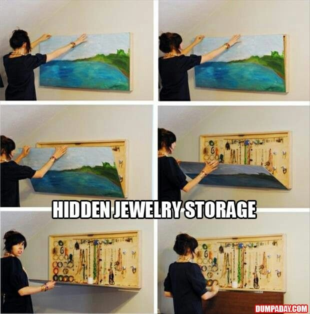 hidden jewelry storage creativity pinterest