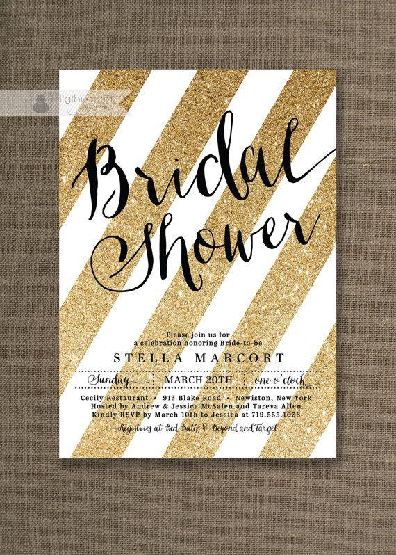 Black & Gold Bridal Shower Invitation White and Gold Glitter Stripes ...