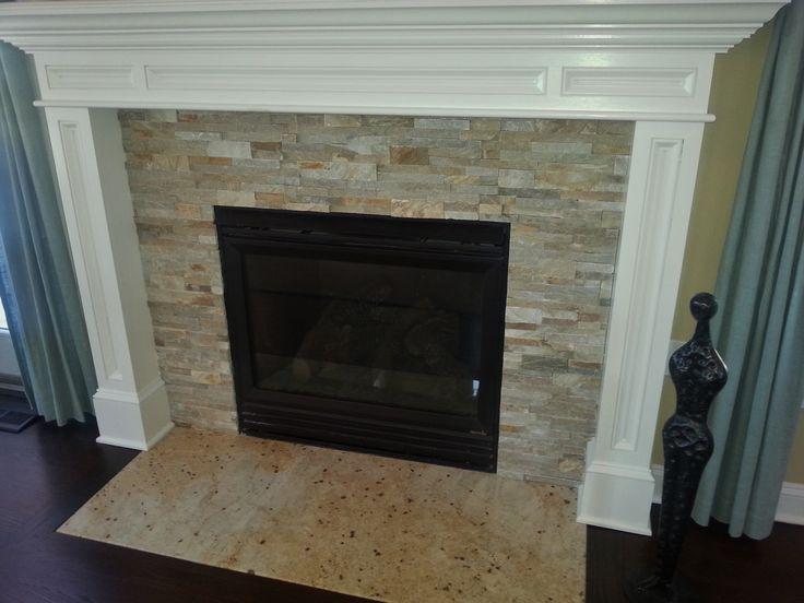 stack stone fireplace  Coastal Cottage Cool  Pinterest