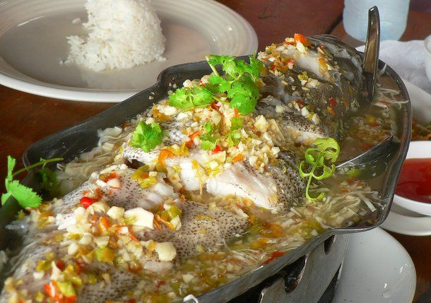 Pla Neung Manao: Steamed fish with Thai lime dressing