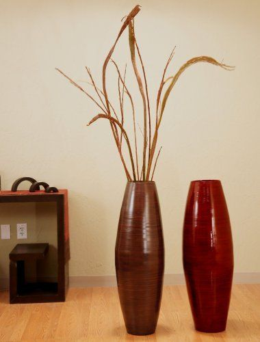 . bamboo and dried branches. Floor vase together with branch ...