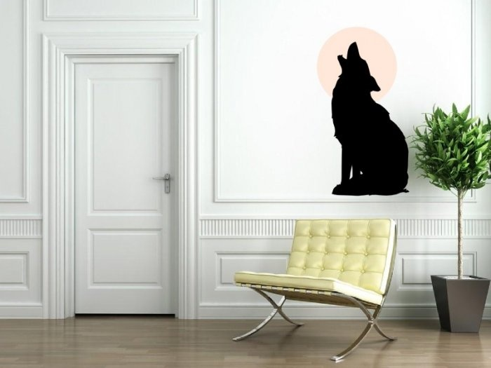 Http broomsticker co uk wolf howling at the moon sticker