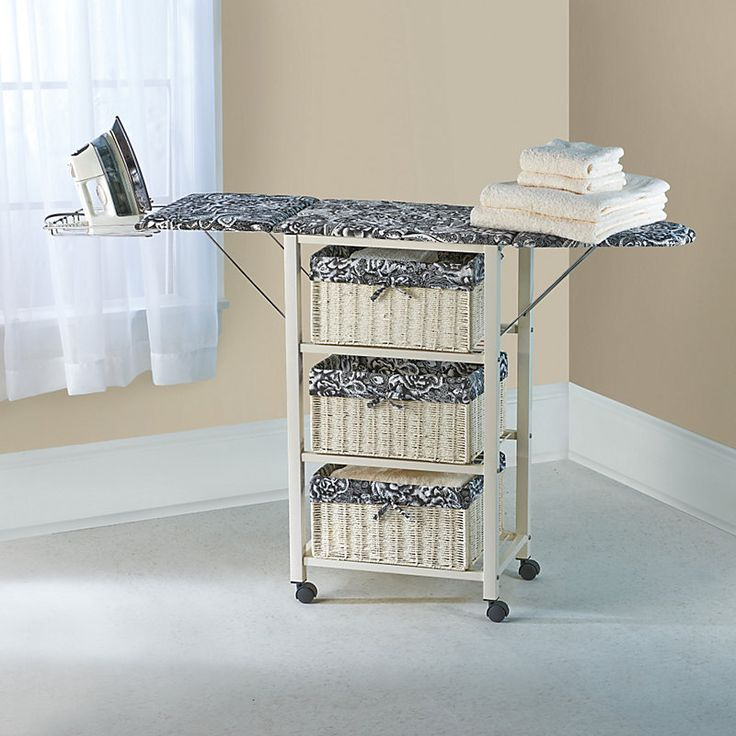 Portable Ironing board – use it for small space closet storage and roll it out when you need to iron.