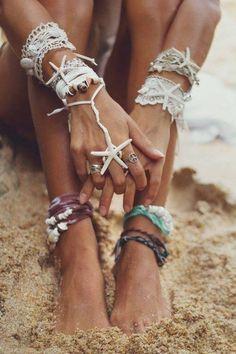 summer beach fashion / anklets / bracelets