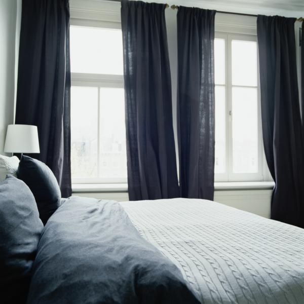 Bedroom navy curtains grey blue bedding cable knit blanket