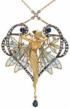 Art Nouveau / 장신구 / 잠자리 날개 요정 / 여인 / 목걸이 /  Accessary Design / necklace