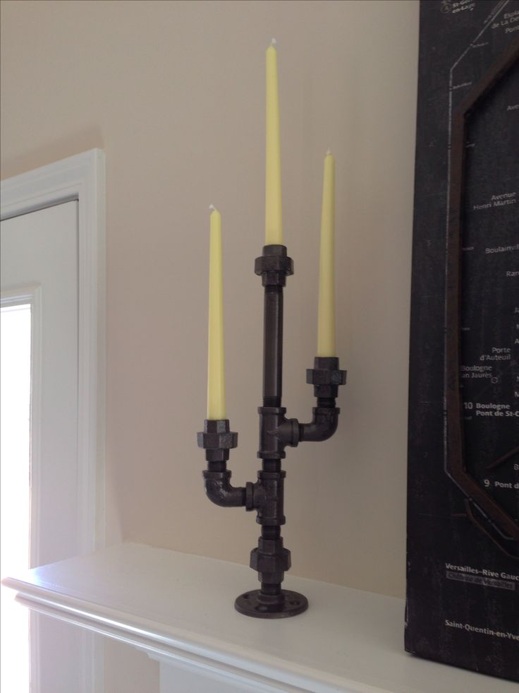 Galvanized Pipe Candle Holder For The Home Pinterest