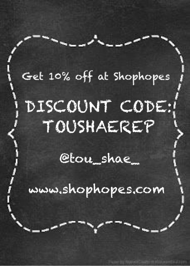 Love www shophopes com use my discount code on all your orders and