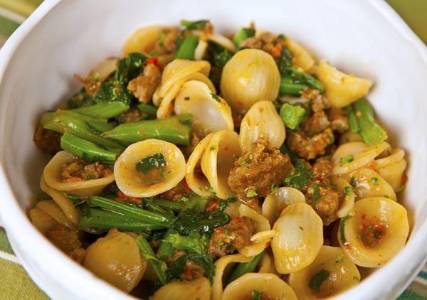 Orecchiette with Broccoli Rabe, Sausage & Sun-dried Tomato Pesto {via: Italian Food Forever}