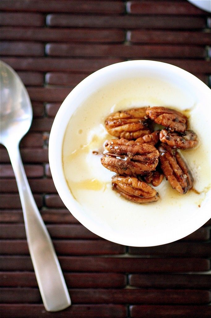 maple pudding with spiced pecans