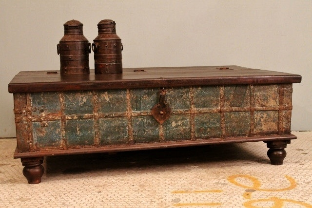 Distressed blue antique indian wedding trunk coffee table chest w lo