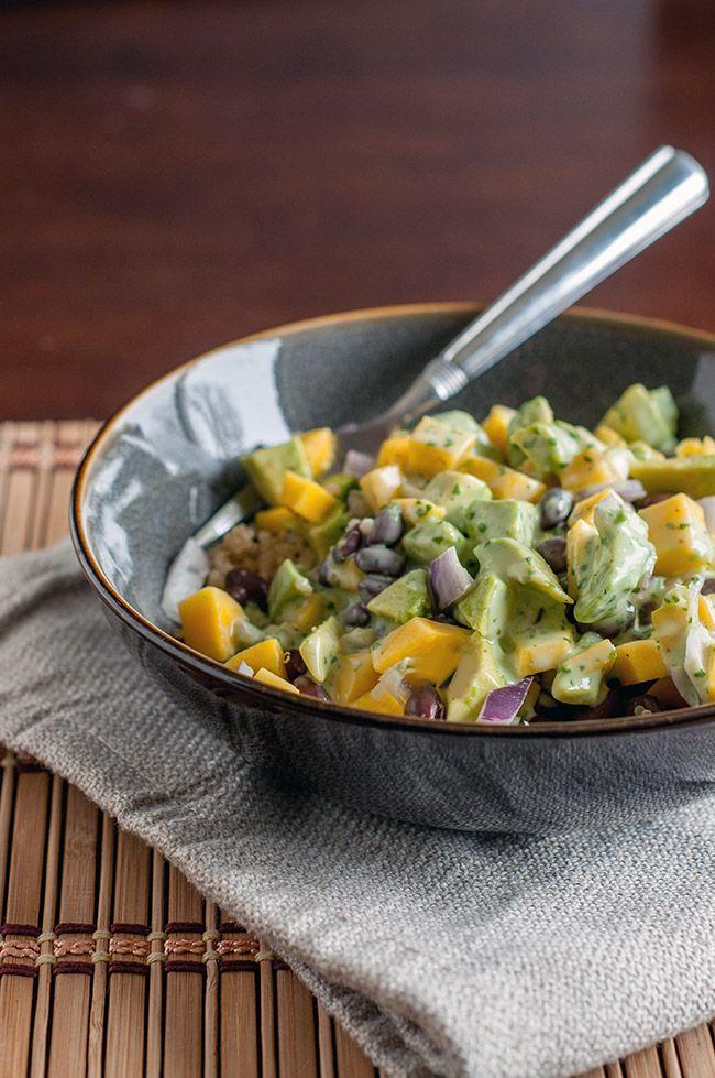 Mango Avocado Quinoa Salad with Cilantro Lime Dressing | Recipe