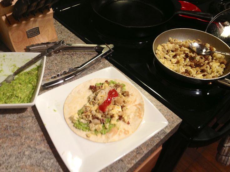 Breakfast tacos - cook spicy pork sausage until brown, add left over ...