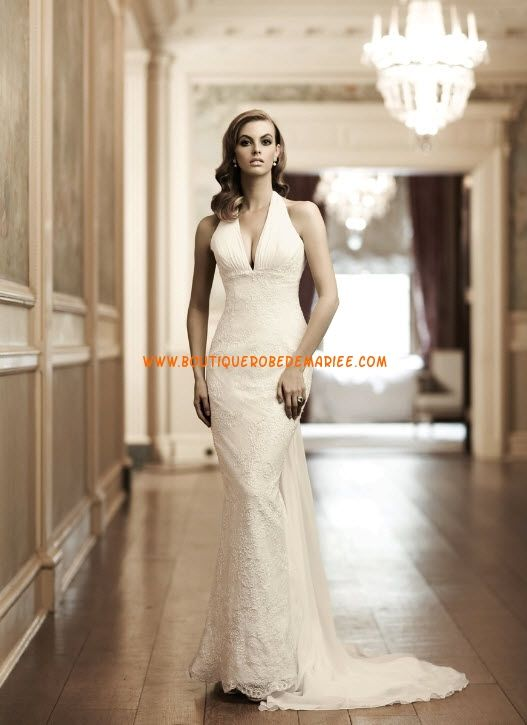 Robe de mariée dentelle fourreau col V  Robe de mariée dentelle ...