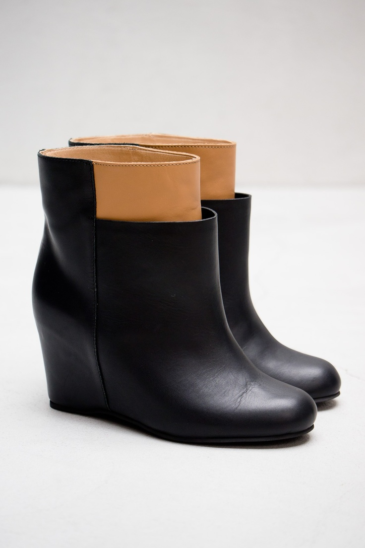 Two Tone Wedge Bootie — Black & Beige