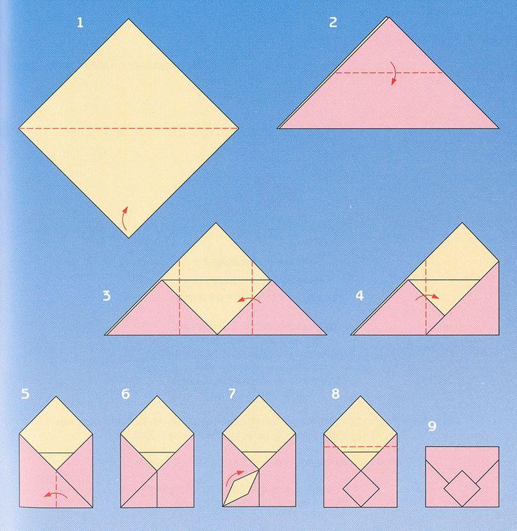 Конвертик из бумаги оригами