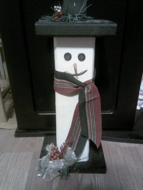 Snowman made out of wood | Snowmen | Pinterest