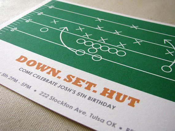 Football invitation design by Ellison Reed. Great for watch parties and kids birthday parties! Find it on Etsy.