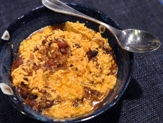 chili 1 mix the bulgur and chili then add the cheese to the top and ...