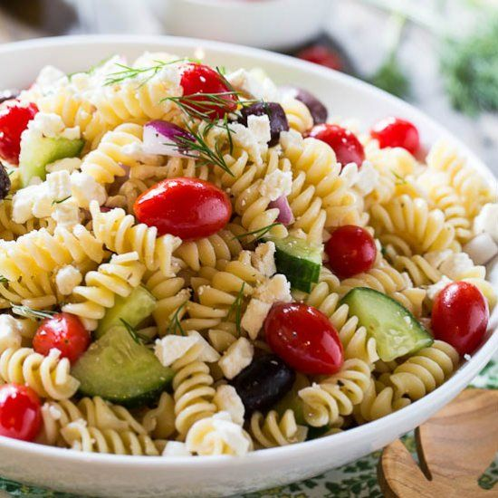 Greek Pasta Salad with feta cheese, kalamata olives, sun-dried ...