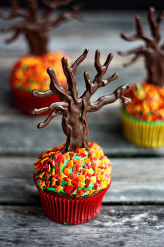 End of Fall Cupcakes by Not Your Momma's Cookie! The chocolate trees are so cool and not that hard to make!