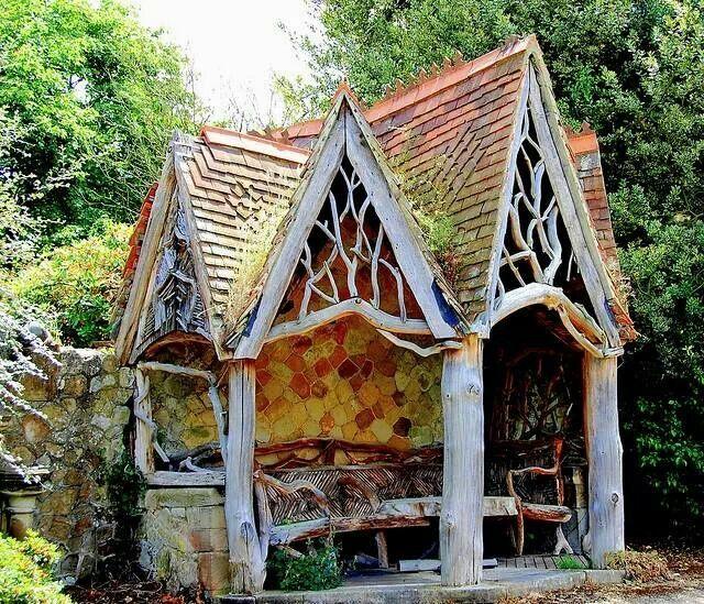 Whimsical garden shelter outdoor living pinterest for Garden structure designs
