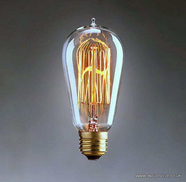 edison bulb squirrel cage filament old fashioned lamp pear. Black Bedroom Furniture Sets. Home Design Ideas