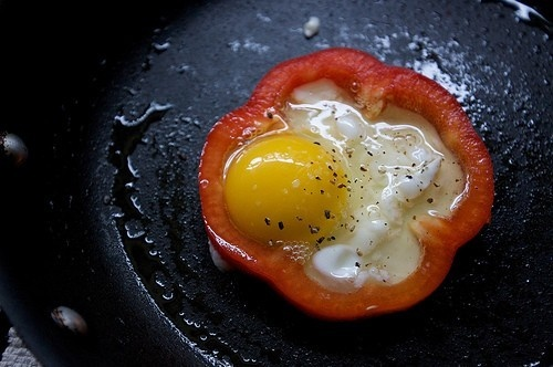 Red bell-pepper egg-in-a-hole. I wonder if I could do this with ...