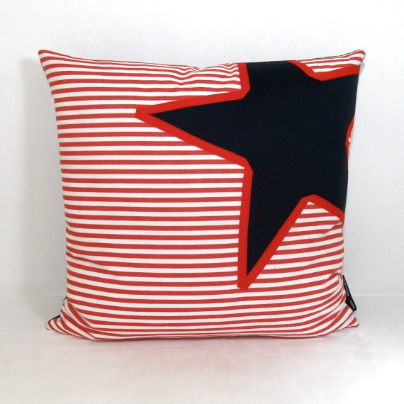 nautical pillow cover red white blue decorative