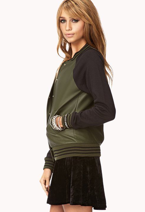 Faux leather varsity jacket. | Clothes | Pinterest