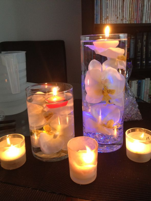 Submerged silk orchid centerpiece wedding pinterest