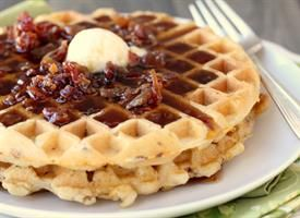 Bacon & Cheddar Waffles Oh.my.cravey.craveworthiness. Add some bacon ...