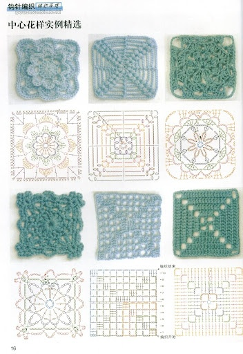 Crochet Patterns Motifs : Square motifs Crochet - Motifs Pinterest