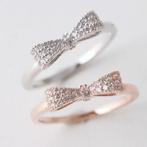 pave gold bow ring sterling silver