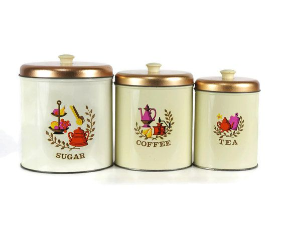 vintage kitchen canister set americana design 1960s